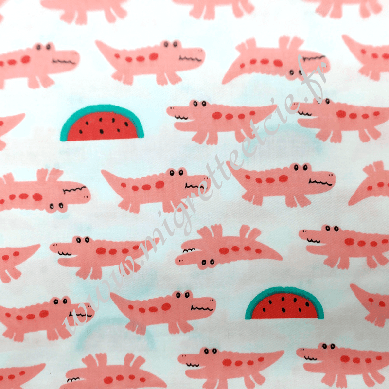 Tissu coton imprimé croco rose, Migrette et Cie
