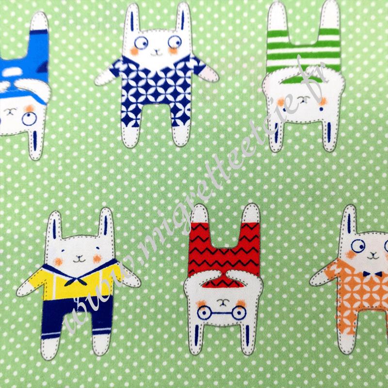 Tissu coton imprimé Lapins en pyjama, Migrette et Cie