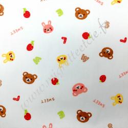 Tissu coton imprimé Ours et lapins, Migrette et Cie