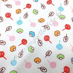 Tissu coton imprimé Sucettes fraises, Migrette et Cie