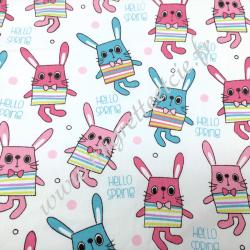 Tissu coton imprimé Lapins rose et bleu, Migrette et Cie