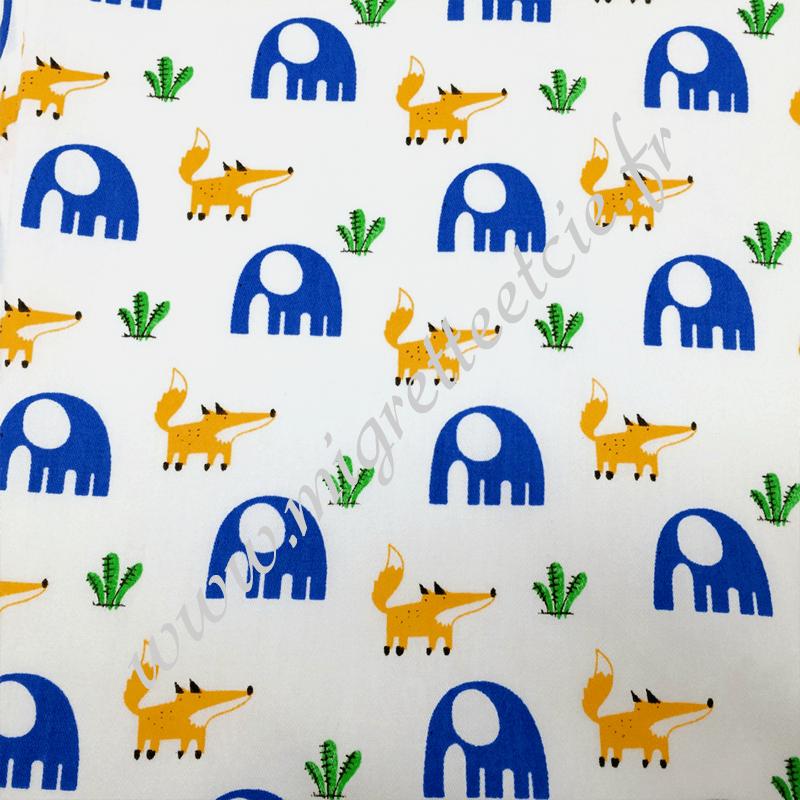 Tissu coton imprimé L'éléphant et le renard, Migrette et Cie