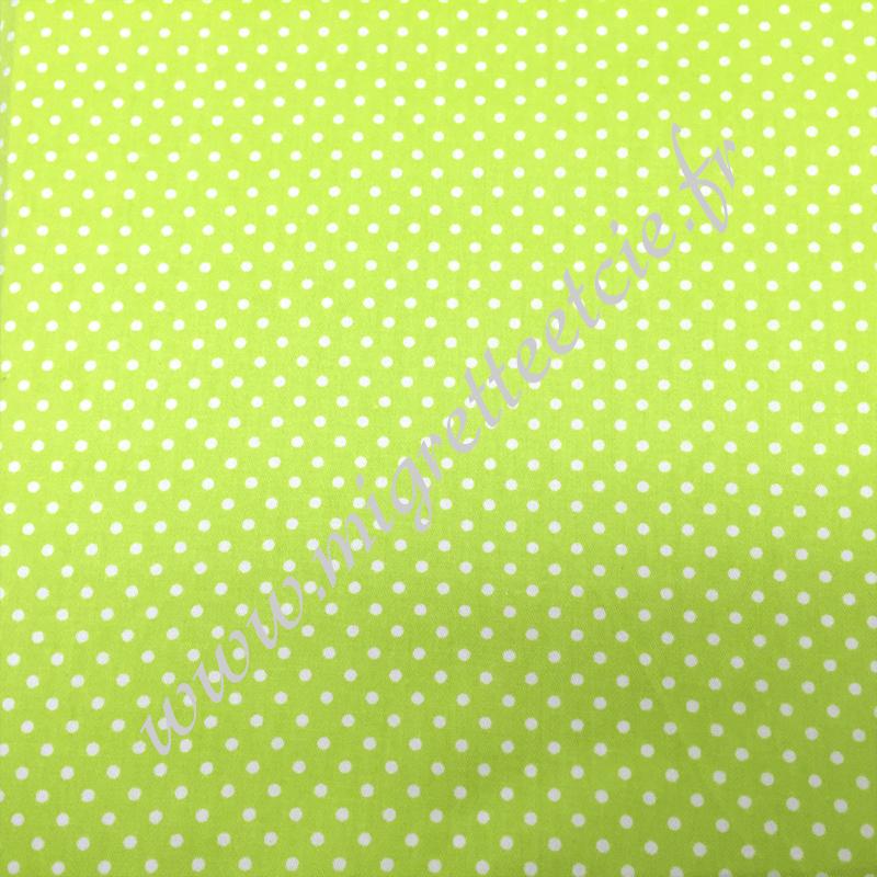 Tissu coton imprimé Vert à points, Migrette et Cie