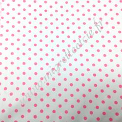 Tissu coton imprimé Blanc à pois rose, Migrette et Cie