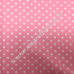 Tissu coton imprimé Rose à pois blanc, Migrette et Cie