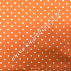 Tissu coton imprimé Orange à pois blanc, Migrette et Cie
