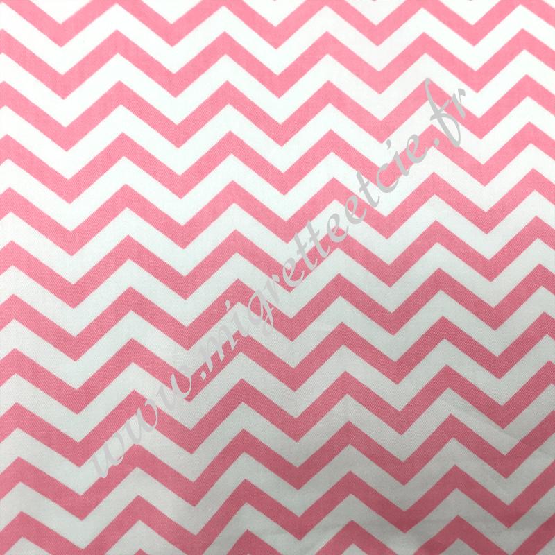 Tissu coton imprimé Chevrons rose et blanc, Migrette et Cie