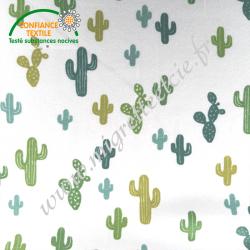 Jersey imprimé Cactus vert et olive, Migrette et Cie