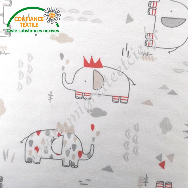 Jersey imprimé Eléphants gris beige et rouge, Migrette et Cie