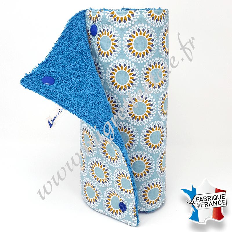 Essuie-tout lavable, coton imprimé Malawa turquoise, éponge bleu, Migrette et Cie