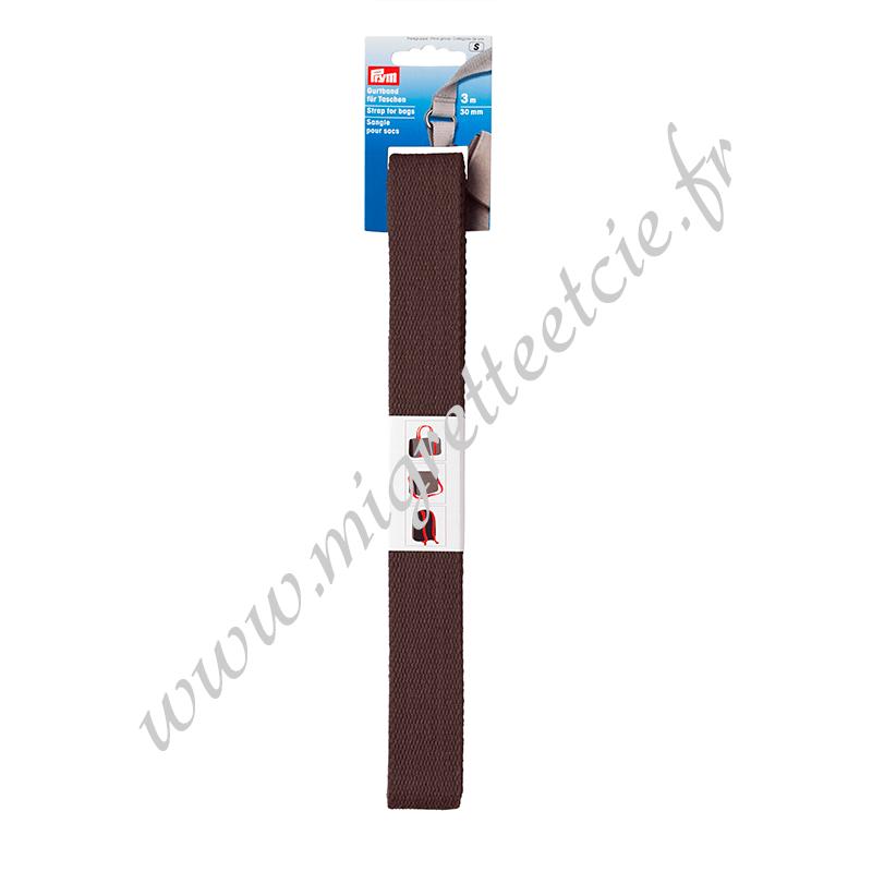 Sangle pour sacs 30 mm brun foncé, 3 mètres, Prym, Migrette et Cie, Prym 965183