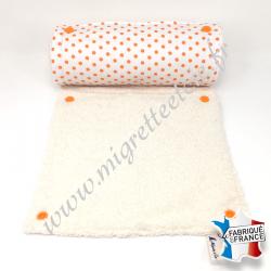 Essuie-tout lavable, coton blanc à pois orange, éponge écru, Migrette et Cie