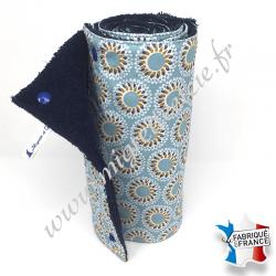 Essuie-tout lavable, coton imprimé Malawa turquoise, éponge bleu nuit, Migrette et Cie