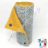 Essuie-tout lavable, coton imprimé Malawa turquoise, éponge moutarde, Migrette et Cie