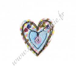 Écusson brodé Coeur Multicolore, Migrette et Cie