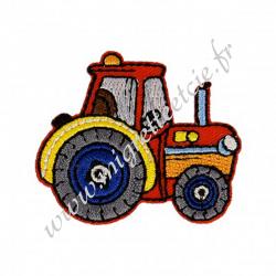 Écusson brodé Tracteur rouge, Migrette et Cie