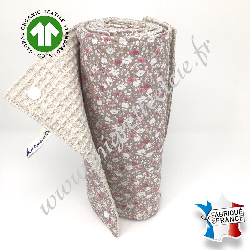 Essuie-tout lavable, coton bio imprimé fleurs beige, coton nid d'abeille écru, Migrette et Cie