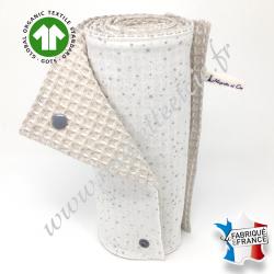 Essuie-tout lavable, coton bio imprimé étoilé gris, coton nid d'abeille écru, Migrette et Cie