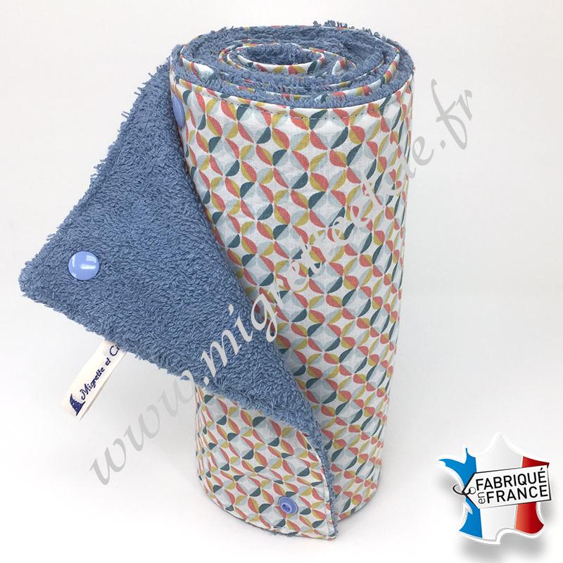 Essuie-tout lavable, coton imprimé Zeleo, éponge bleu clair, Migrette et Cie
