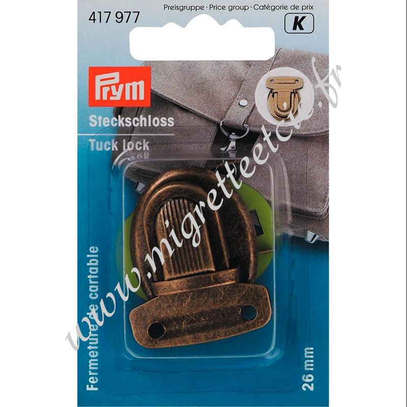 Fermeture de cartable, 26mm, laiton antique, Prym, Migrette et Cie, Prym 417977