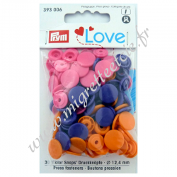 Bouton pression Color, 12.4mm, orange/rose vif/violet, Prym Love -