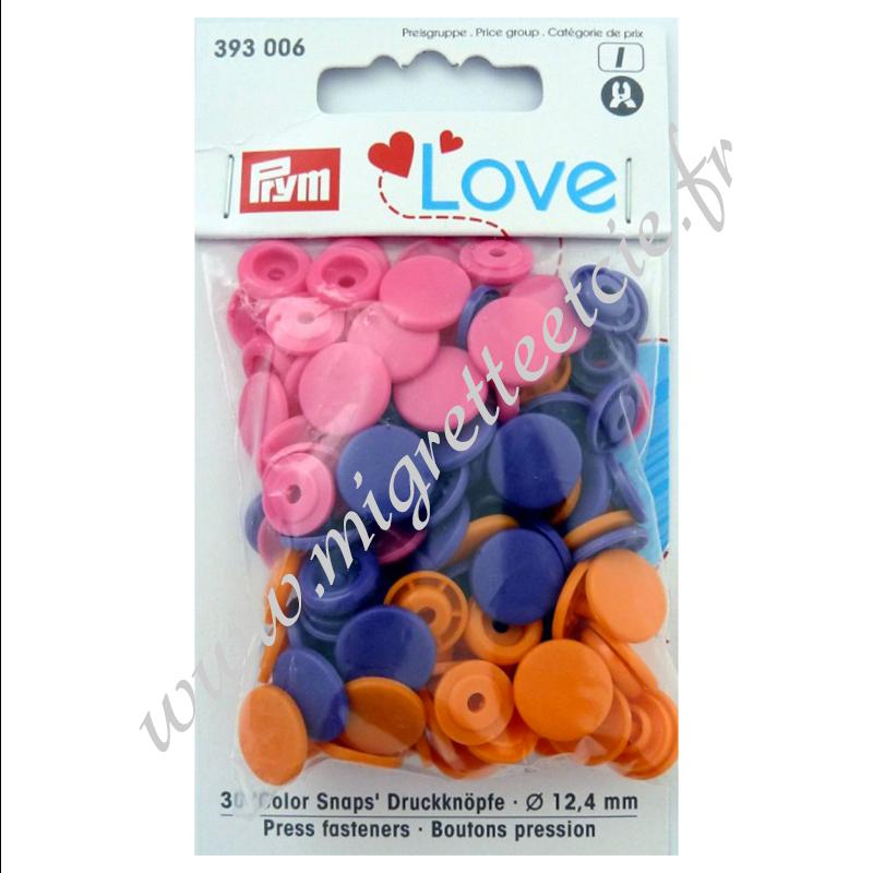 Bouton pression Color, 12.4mm, orange/rose vif/violet, Prym Love -