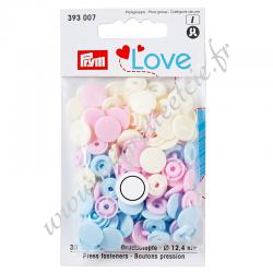 Bouton pression Color, 12.4mm, rose - bleu clair - perle, Prym Love, Migrette et Cie, Prym 393007