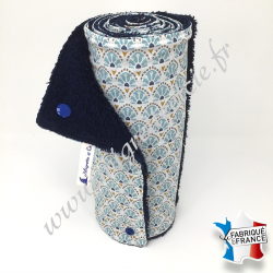 Essuie-tout lavable, coton imprimé Manco, éponge bleu nuit, Migrette et Cie