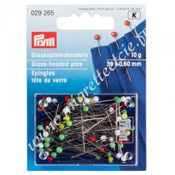 Épingles tête de verre, 0,60 x 30mm, multicolore, 10g, Prym, Migrette et Cie, Prym 029265