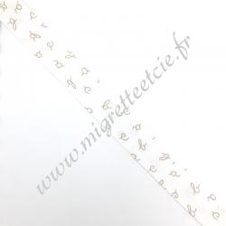 Biais Coton 27mm Alphabet beige, Migrette et Cie