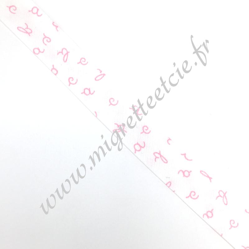 Biais Coton 27mm Alphabet rose, Migrette et Cie
