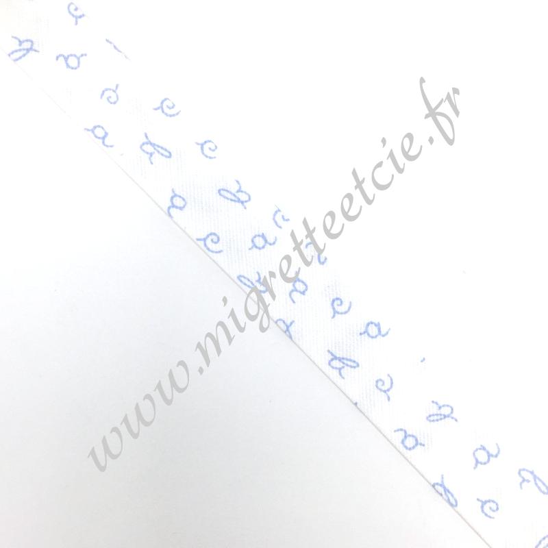 Biais Coton 27mm Alphabet bleu, Migrette et Cie