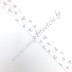 Biais Coton 27mm Alphabet gris, Migrette et Cie