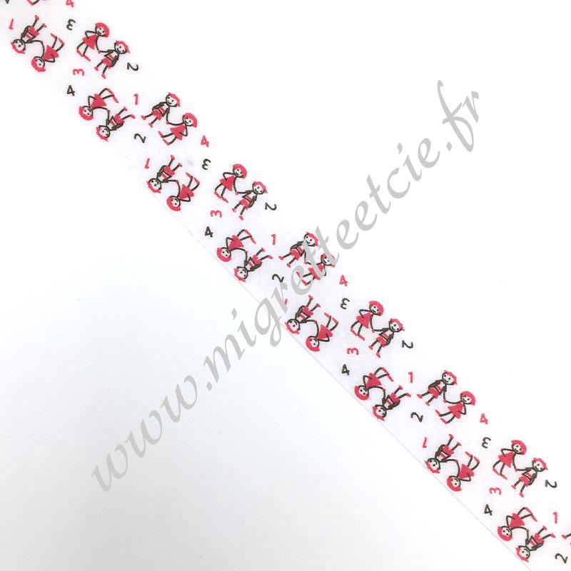 Biais Coton 27mm Enfants rouge, Migrette et Cie