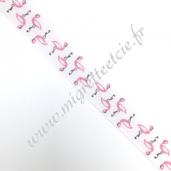Biais 27mm Flamants roses -