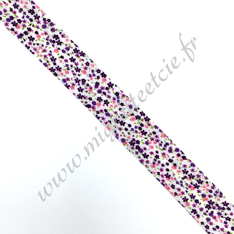 Biais 25mm, coton, liberty violet, Migrette et Cie