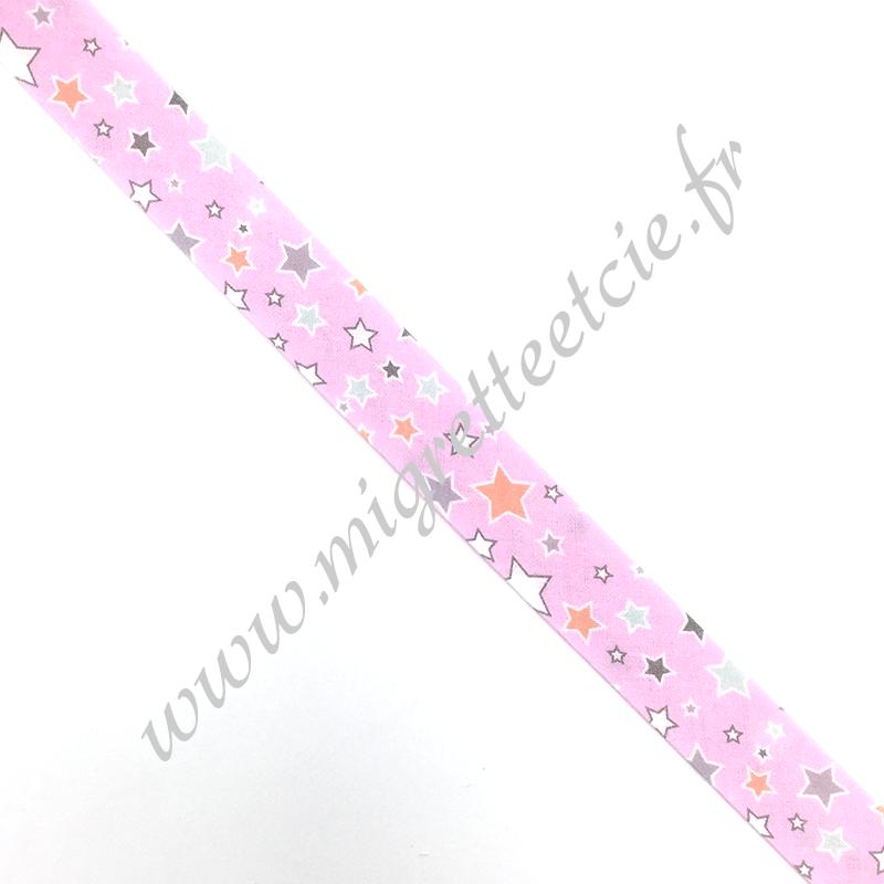 Biais 18mm, coton, étoilé, fond rose, Migrette et Cie