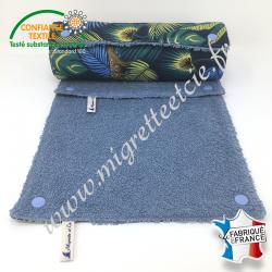 Essuie-tout lavable, coton imprimé Jangal, éponge bleu clair, Migrette et Cie