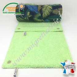 Essuie-tout lavable, coton imprimé Jangal, éponge vert pistache, Migrette et Cie