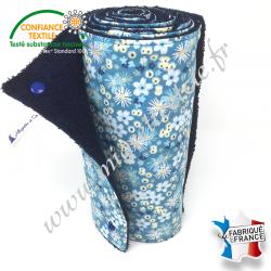 Essuie-tout lavable, coton imprimé Zinia bleu, éponge bleu nuit, Migrette et Cie