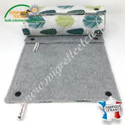 Essuie-tout lavable, coton imprimé Palmade, éponge bleu grise, Migrette et Cie
