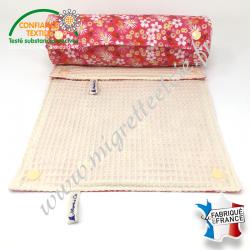 Essuie-tout lavable, coton imprimé Zinia rose, coton nid d'abeille écru, Migrette et Cie
