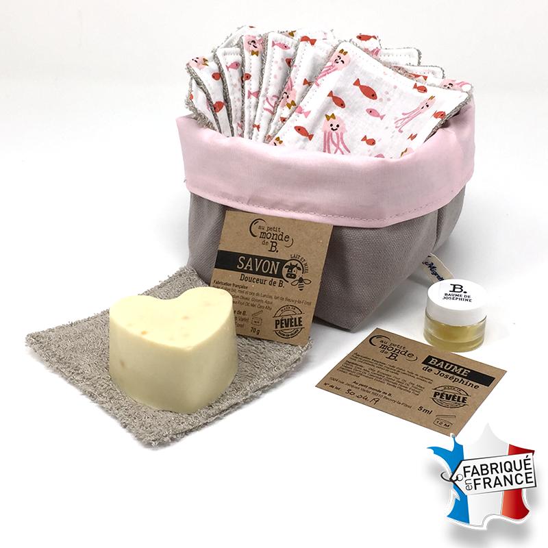 Lingettes lavables, Savon et Baume lèvres à la vanille, Migrette et Cie et Au petit monde de B.