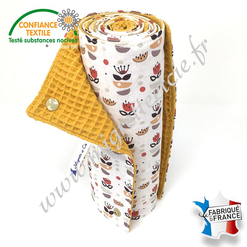 Essuie-tout lavable, coton imprimé Anisa, coton nid d'abeille moutarde, Migrette et Cie