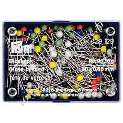 Épingles tête de verre, 0,60 x 30mm, multicolore, 10g, Prym, Migrette et Cie, Prym 029129