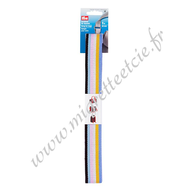 Sangle pour sacs 30 mm multicolore, 3 mètres, Prym, Migrette et Cie, Prym 965171