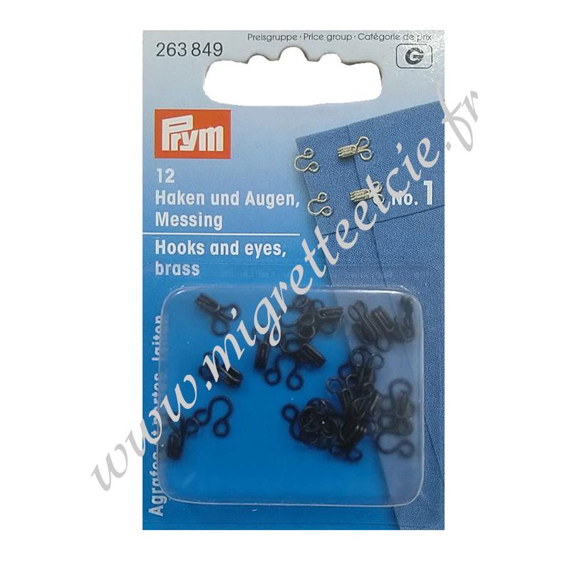 Agrafes métal à ressorts - Noir, taille 1, PRYM, 263849, Migrette et Cie
