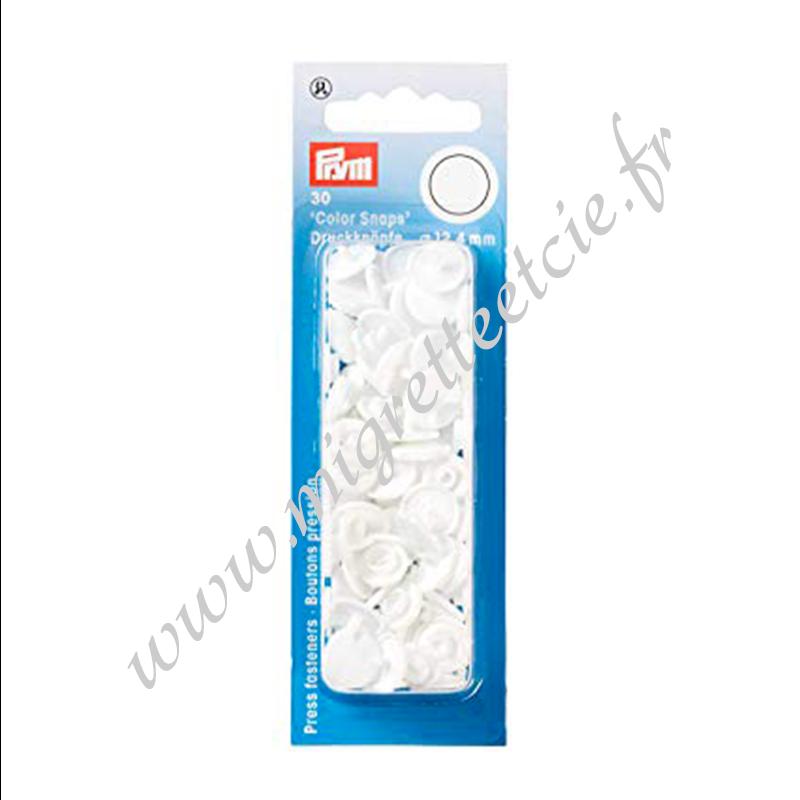 Boutons pression sans couture « Color Snaps », rond, 12.4mm, blanc, PRYM, 393103, Migrette et Cie