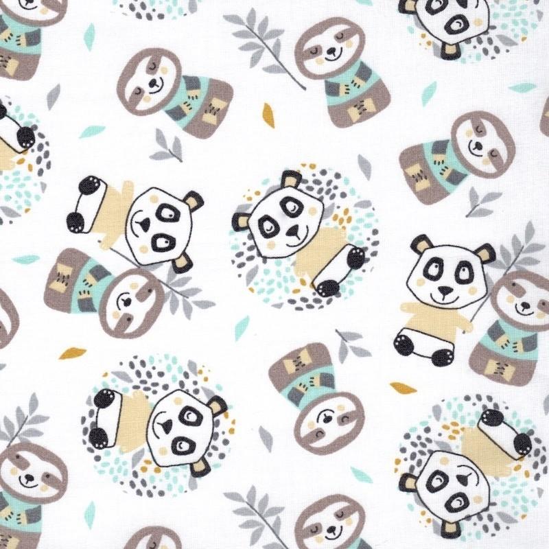 Coton imprimé Panda jaune bleu, Migrette et Cie