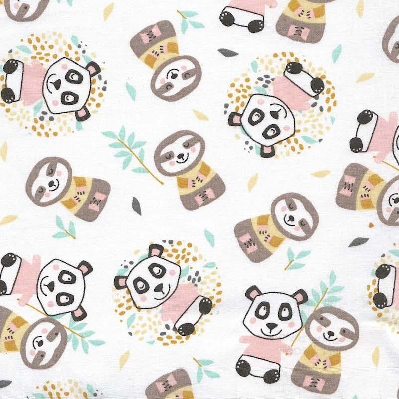 Coton imprimé Panda jaune rose, Migrette et Cie